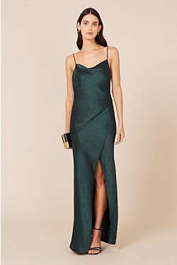 Bowery Slip Dress - Forest Green