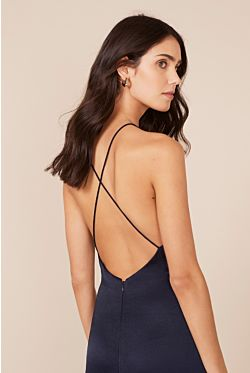 Garbo X-Back Slip Dress - Navy