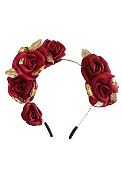 Red Roses & Gold Leaf Crown