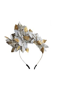 White and Golden Leaves Fascinator