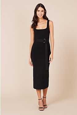 Bodycon Midi Dress - Black