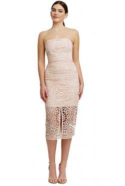 Blush Geo Floral Lace Strapless Dress