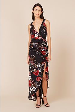 Drape Front Dress - Garnet Multi