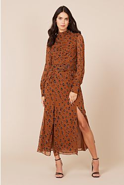 Gathered Tuck Dress - Light Leopard