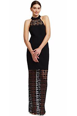 Black Mosaic Halter Gown