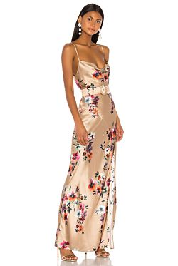 Simone Dress - Watercolour Floral Taupe