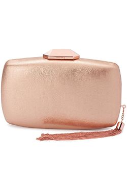 Nala Metallic Metal Tassel Clutch - Rose Gold