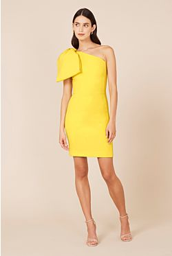 Hamptons Bow Mini Dress - Yellow