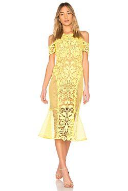 Enchanted Garden Midi Dress - Yellow